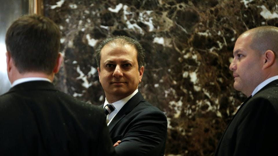 Preet Bharara, the US Attorney for the Southern District of New York, stands by the elevators upon his arrival at Trump Tower to meet with US President-elect Donald Trump in New York.