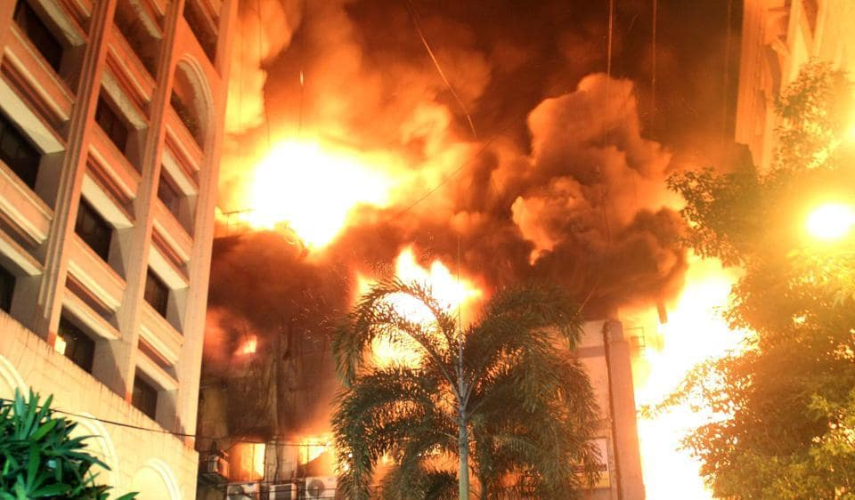 A fire broke out on the second and third floors of JK Somani building at Fort on Thursday.