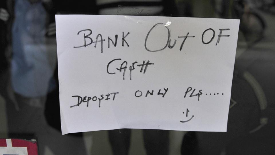 Outside a bank in Chandigarh on Thursday, December 1.