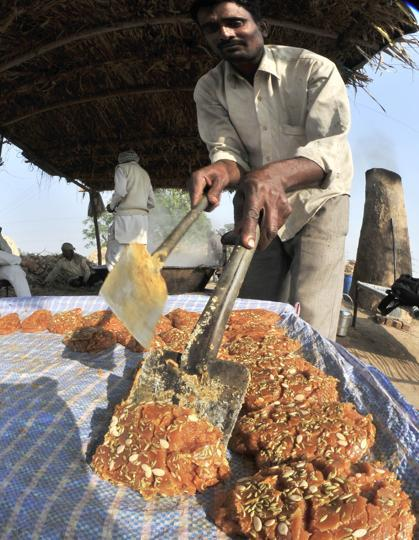 The jaggery all set for sale.  (Ravi Kumar/HT)