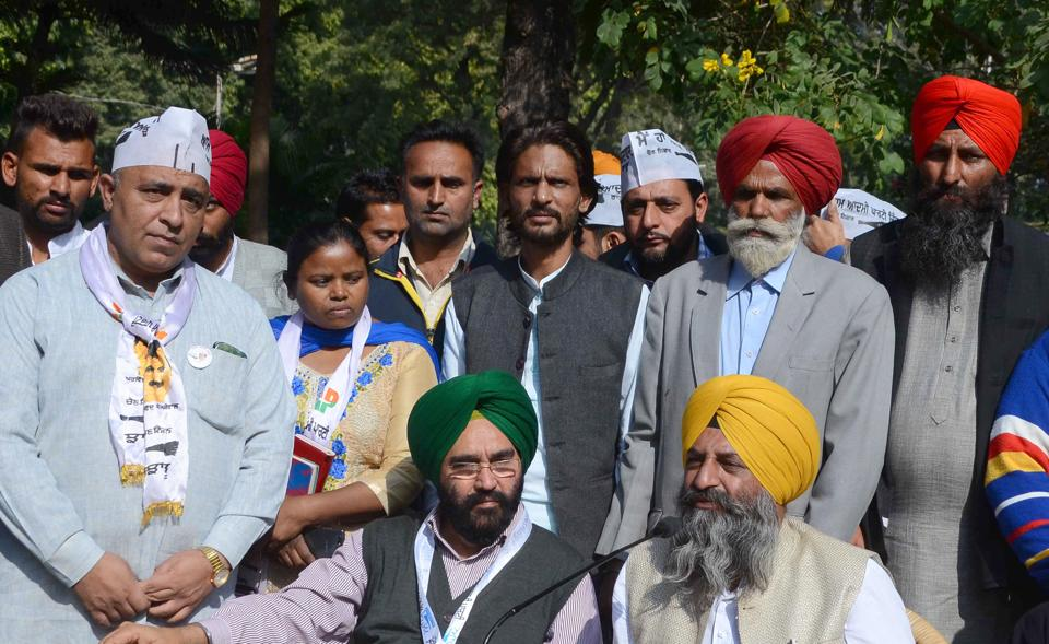 AAP Volunteers during a press conference at Press club Chandigarh on Wednesday.
