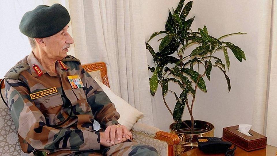 Kashmir conflict,Northern Army Commander,Lieutenant General DS Hooda