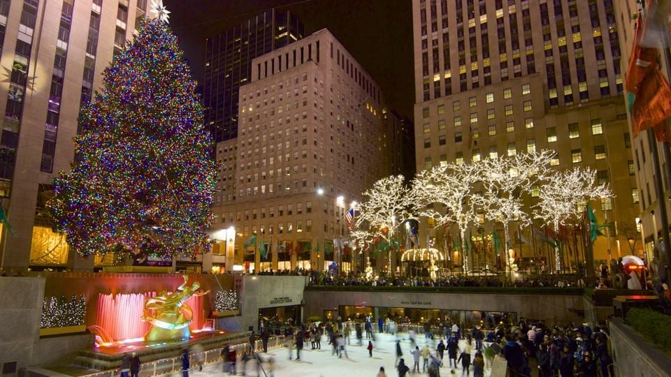 The ever-buzzing New York city was voted fourth. Skaters at Rockefeller Center enjoy a beautiful evening. (AFP)