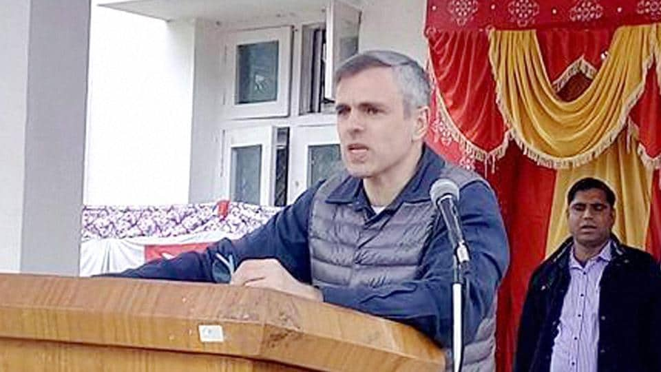 Former Jammu and Kashmir CM Omar Abdullah addresses a public meeting in Bhaderwah.