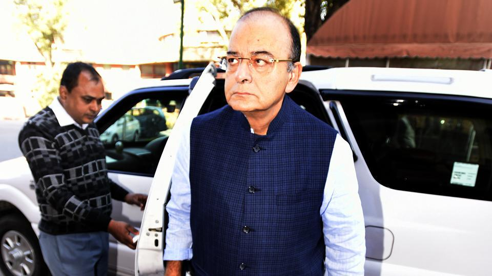 Finance minister Arun Jaitley arrives for the Parliament in New Delhi on Monday, November 28.