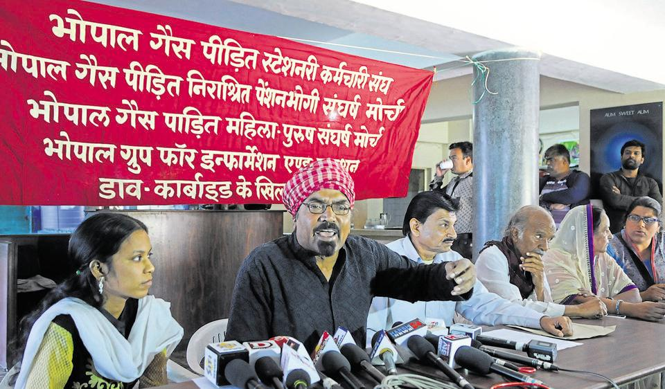 Satinath Sarangi of Bhopal Group for Information and Action addresses a press conference in Bhopal on Wednesday.