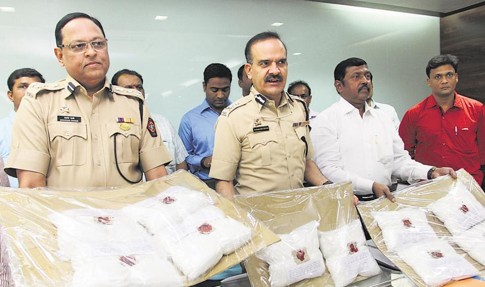 Thane CP Parambir Singh with the haul of Ephedrine drugs earlier this year.