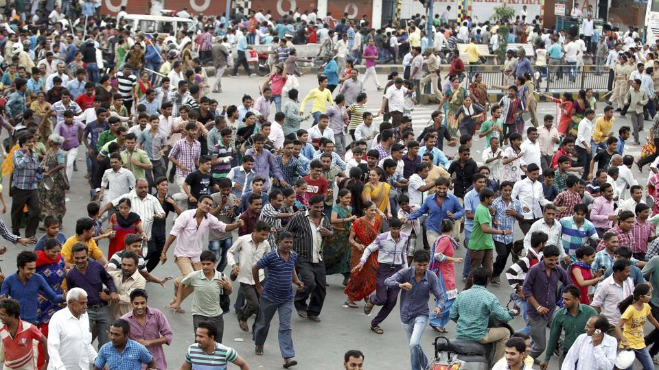 People from the Patidar community protest demanding reservation, in Ahmedabad.