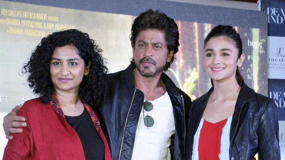 Bollywood actors Shah Rukh Khan and Alia Bhatt at a promotional event for their film Dear Zindagi  in Gurugram.