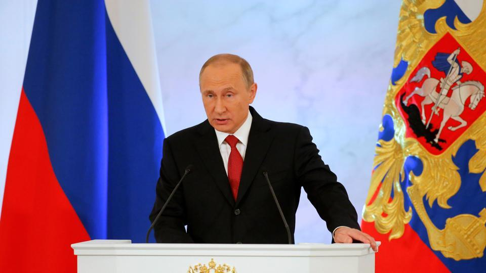 Russian President Vladimir Putin delivers a speech during his annual state of the nation address at the Kremlin in Moscow, Russia, December 1, 2016.
