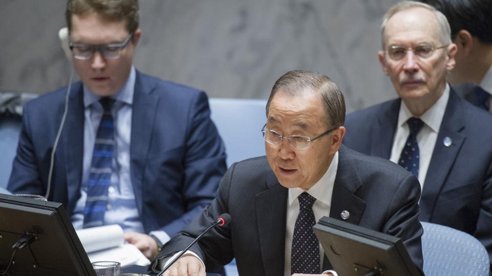UN Secretary General Ban Ki-moon speaks during a Security Council meeting at UN headquarters.