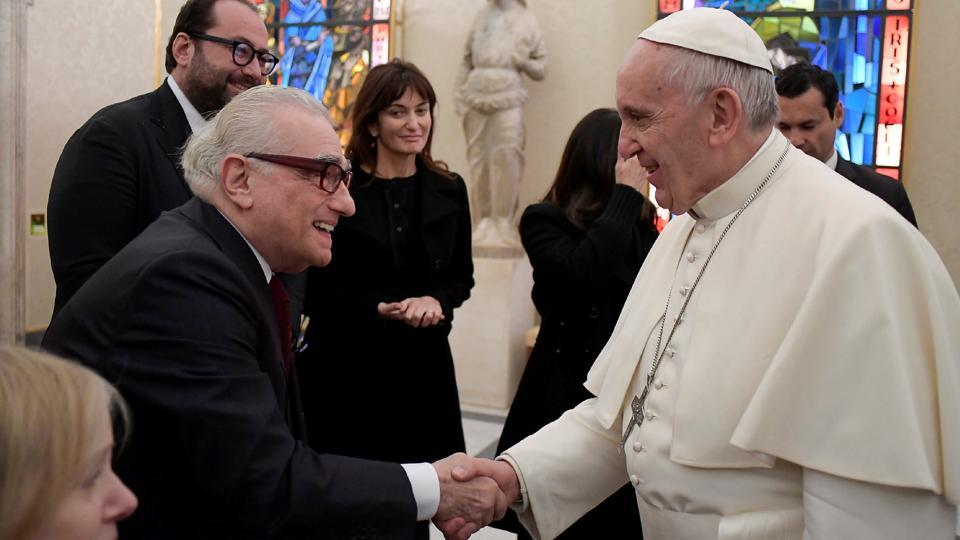 Pope Francis meets film director Martin Scorsese during a private audience at the Vatican November 30, 2016.