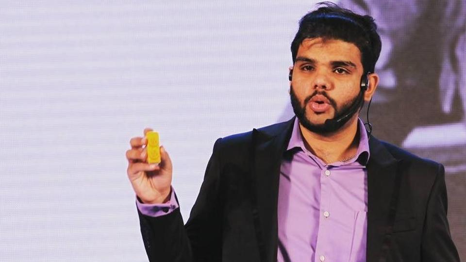 Abhinav Verma in his Facebook profile photo. In his hand is the LiveBraille device for which he garnered praise as an innovator.