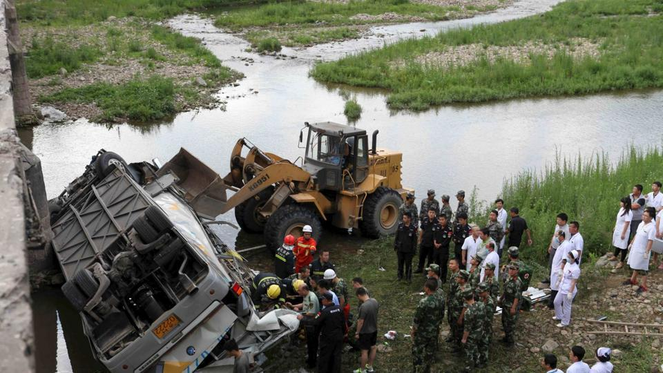 18 people have died and two more are in hospital after a passenger bus plunged into a lake in the central province of Hubei.