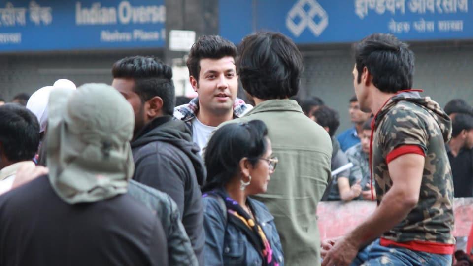 Varun Sharma and Pulkit Samrat spotted shooting for Fukrey 2 at Nehru Place in Delhi.