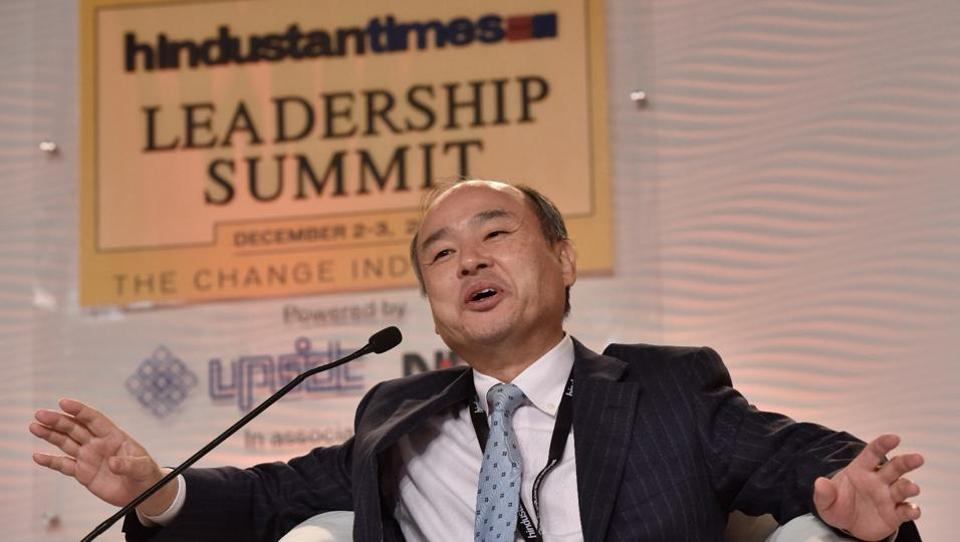Masayoshi Son, chairman and CEO, Softbank Group, Corp in conversation with R Sukumar, Editor, Mint.  (Sanjeev Verma/ HT Photo)