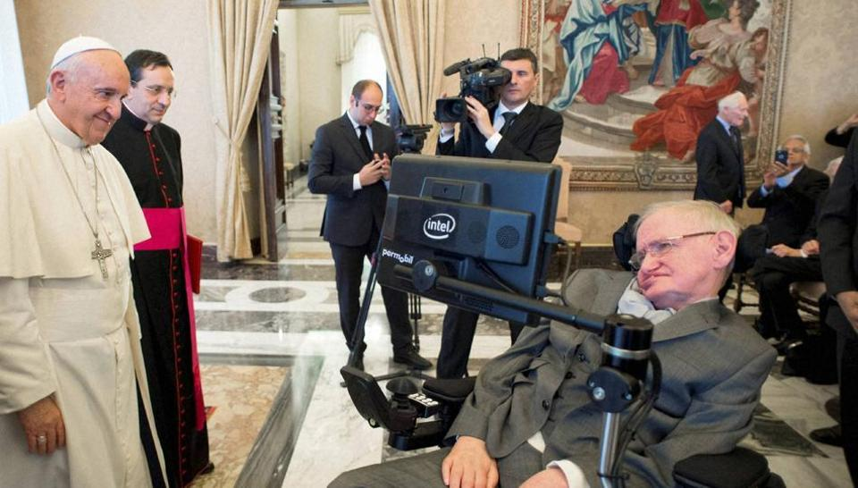 Pope Francis greets physicist Stephen Hawking during an audience with participants at a plenary session of the Pontifical Academy of Sciences, at the Vatican on November 28. Hawking was in the Italian capital to attend this event, after which he was admitted.