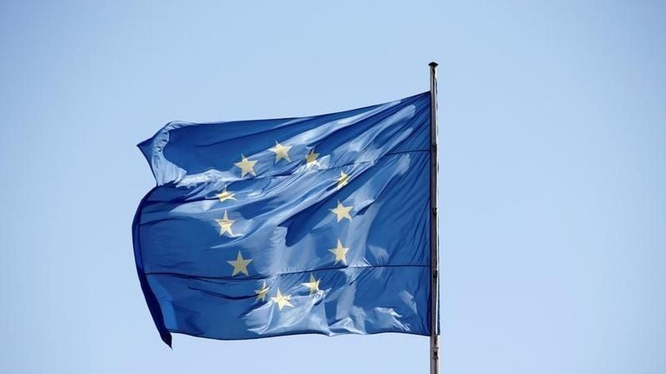 A file picture of the European Union flag is seen on a sunny day and blue sky at the Chancellery in Berlin, Germany.