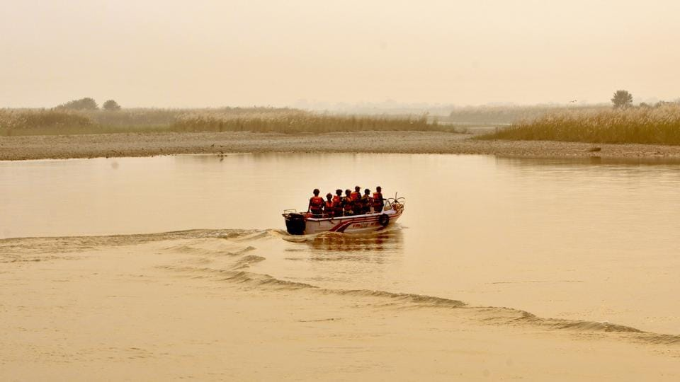 Border Security Force forces patrolling on a boat along the Pargwal area of India-Pakistan International Border in Akhnoor.