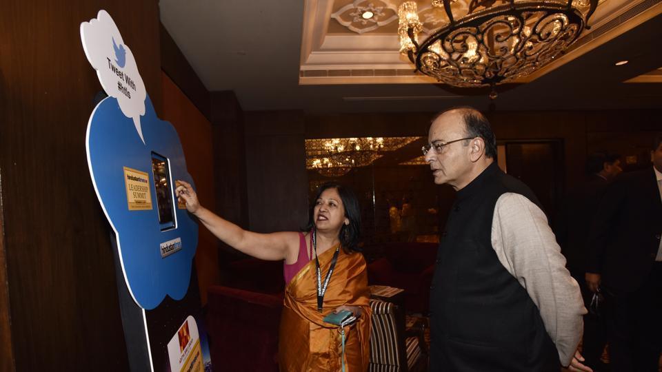 Finance minister Arun Jaitley at the Hindustan Times Leadership Summit at Taj Palace in New Delhi on Friday.