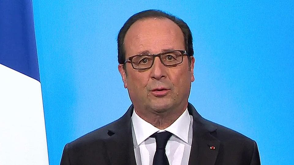 French President Francois Hollande, seen in this picture taken from French TV, makes a televised address from the Elysee Palace in Paris.