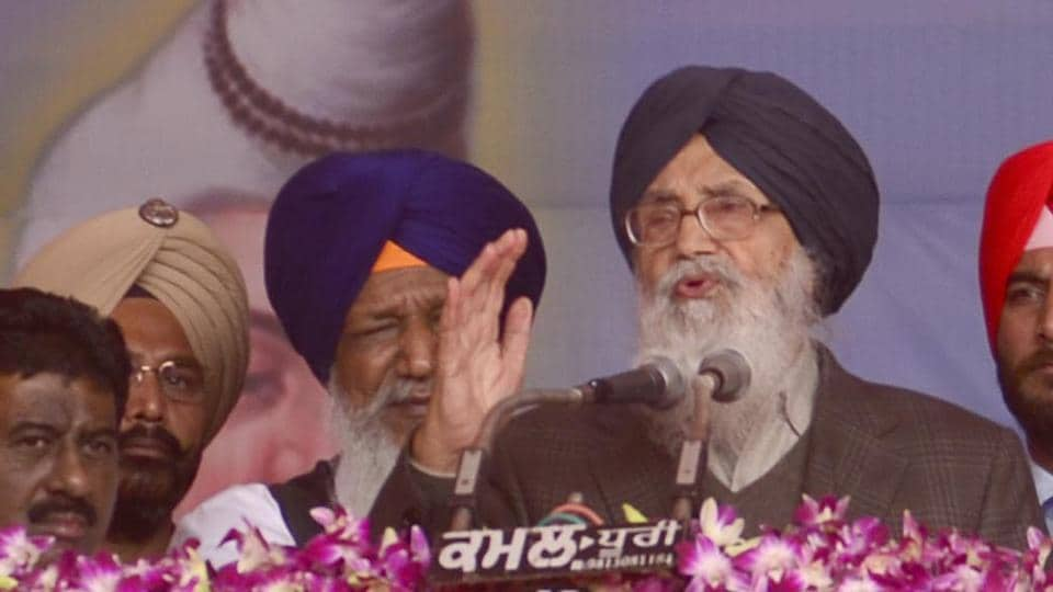 CM Parkash Singh Badal addressing a gathering during the inauguration of Ram Tirath temple, Amritsar on Thursday.