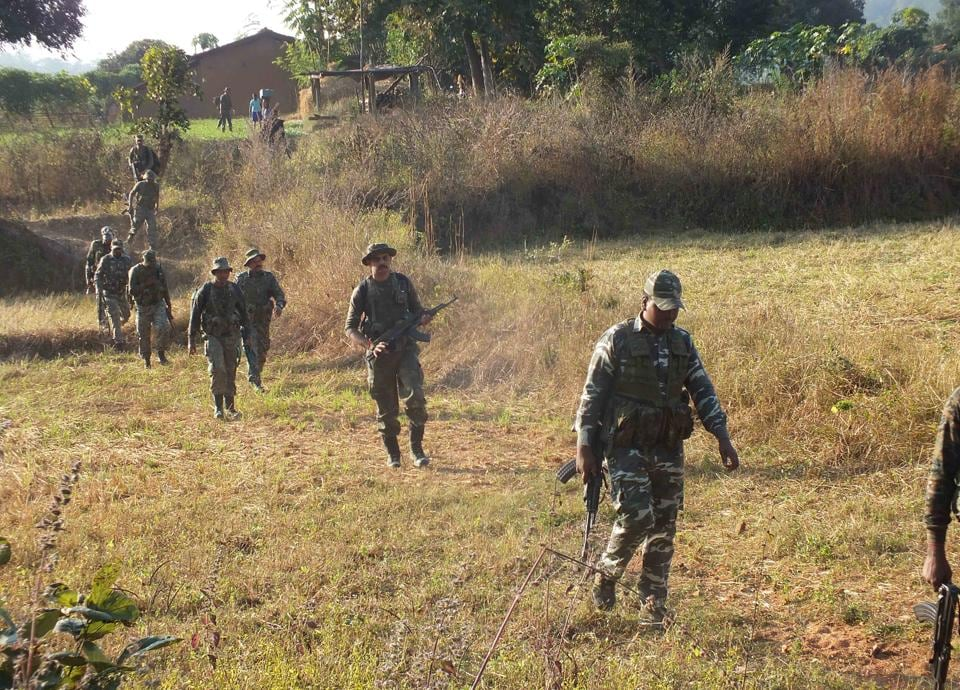 Paramilitary forces during an anti-Maoist operation at Burha Pahar in Latehar district on Friday.