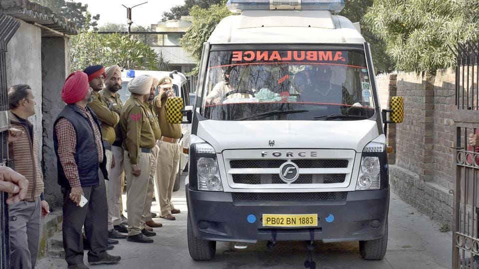 Bodies of murder victims being taken away from the house at Maqbool Road in Amritsar on Friday, December 2.