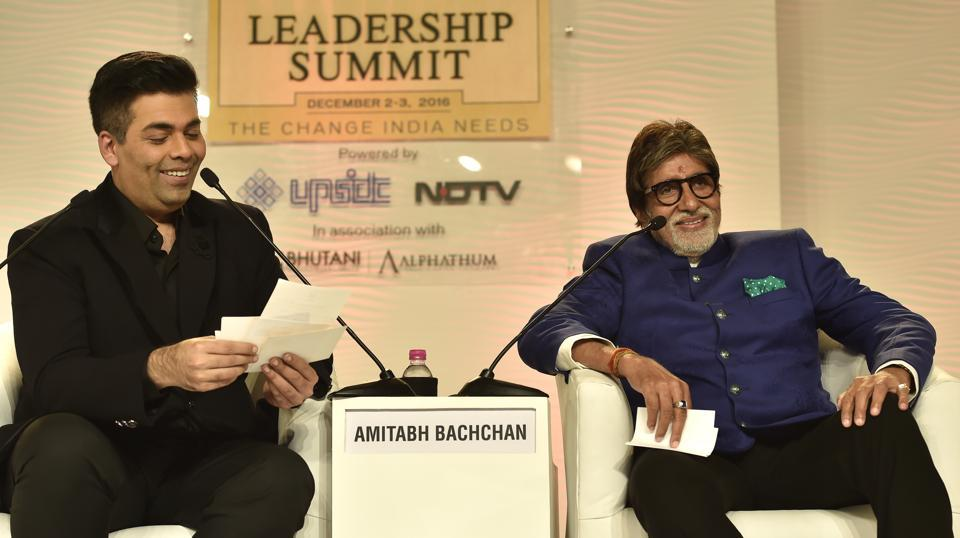 Amitabh Bachchan in conversation with Karan Johar during Hindustan Times Leadership Summit at Taj Palace, New Delhi, on Friday.