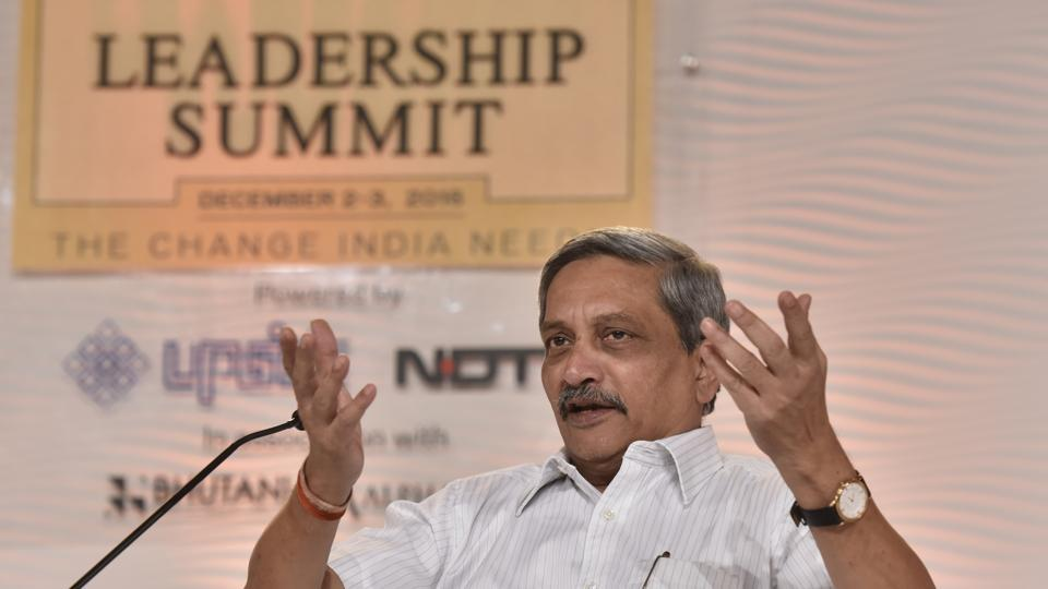 Defence minister Manohar Parrikar at the 14th Hindustan Times Leadership Summit in New Delhi on Friday.
