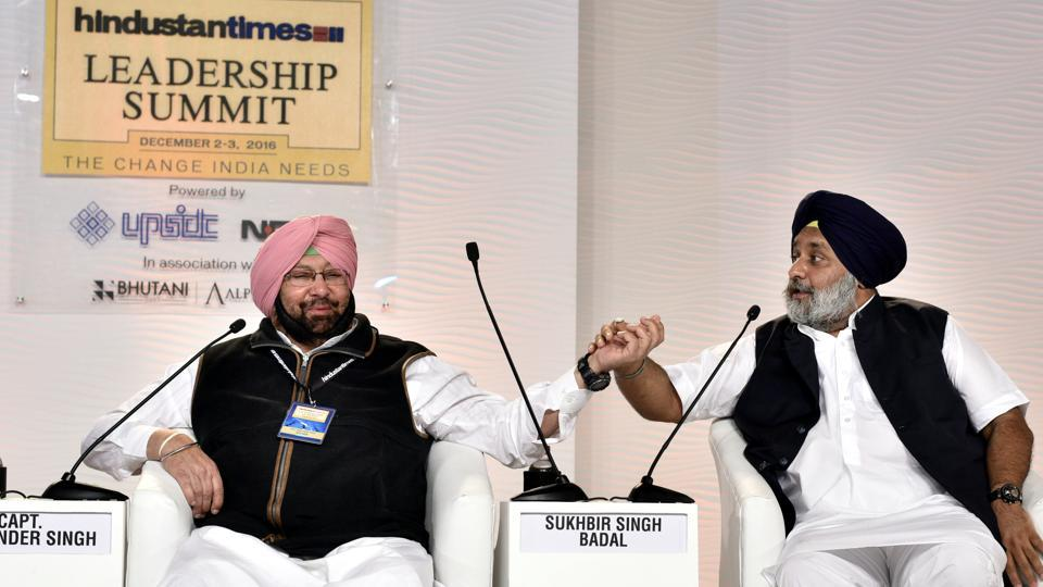 Sukhbir Singh Badal, deputy chief Minister of Punjab, (right) and Capt Amarinder Singh, president, Punjab Pradesh Congress Committee, in a discussion during the Hindustan Times Leadership Summit in New Delhi on Friday, December 2.