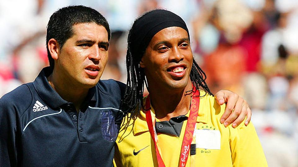 Argentina's Juan Roman Riquelme, 38, retired from professional football in 2014 while the 36-year-old Ronaldinho of Brazil last played for Fluminese in 2015.