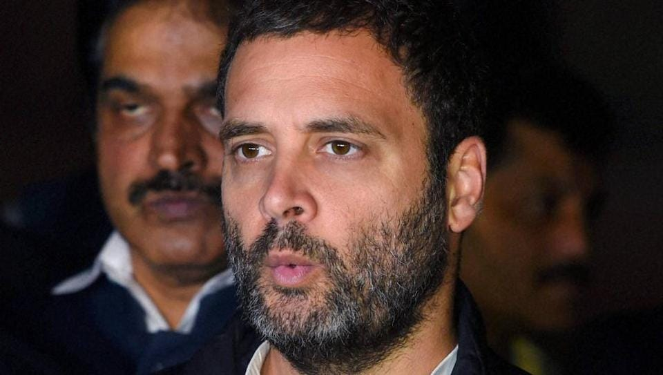 Congress vice-president Rahul Gandhi addresses the media after meeting with President Pranab Mukherjee at the President's House in New Delhi on Thursday.