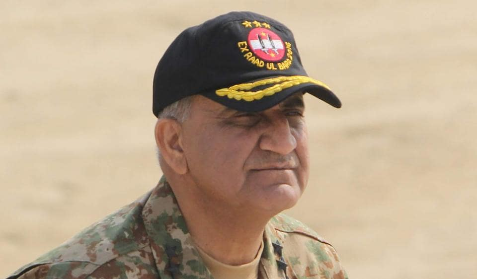 File photo of Pakistan Army chief Gen Qamar Bajwa at a military exercise on the Indian border at Khairpure Tamay Wali in Bahawalpur district on November 26, 2016.