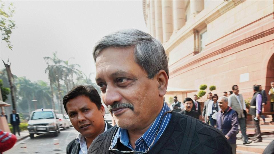 Defence Minister Manohar Parrikar at Parliament during the winter session, in New Delhi on Tuesday.