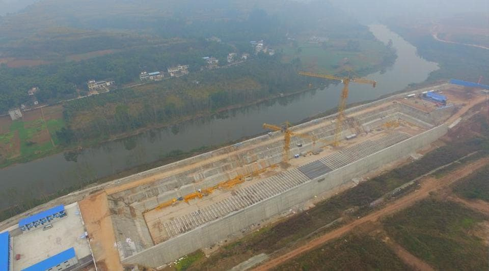 A construction site is seen as a Chinese company holds a keel-laying ceremony of a life-size Titanic replica at a theme park in Daying county, Sichuan province, China on November 30.