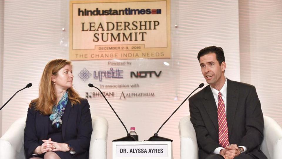 Alyssa Ayres and Daniel Twining at the Hindustan Times Leadership Summit , in Delhi.