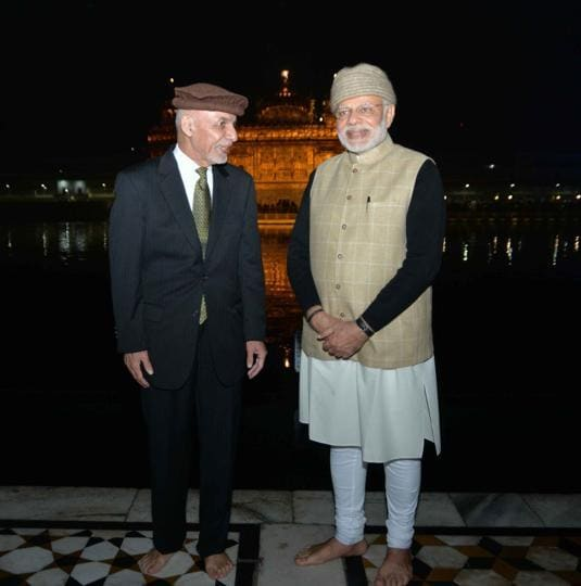 PM Narendra Modi with Afghanistan President Ashraf Ghani at the Golden Temple in Amritsar on Saturday. On Sunday, they will be part the Heart of Asia conference. (Photo: MEA on Twitter)