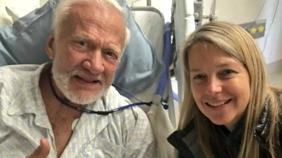 Buzz Aldrin posted photos on Saturday of his recovery in a New Zealand hospital after he was evacuated from the South Pole due to illness.