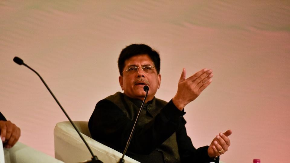 Piyush Goyal, Union minister of state with independent charge for power, coal, new and renewable energy and mines, talks at the Hindustan Times Leadership Summit at Taj Palace in New Delhi On Saturday. (Raj K Raj/HT Photo)
