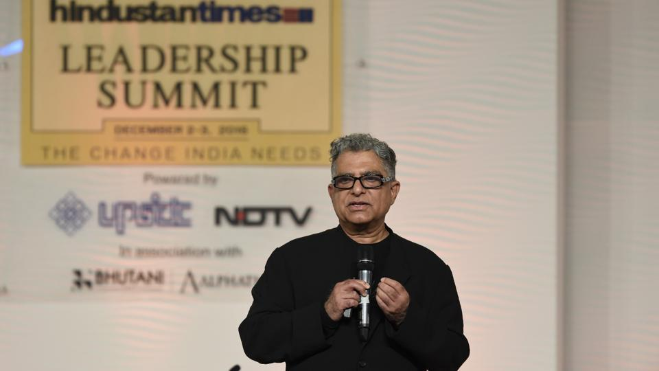 Deepak Chopra, founder of Chopra Foundation and co-founder of Chopra Centre of Well-being in conversation with Vikram Hazra, spiritual jazz musician on Day 2 of the Hindustan Times Leadership Summit at Taj Palace in New Delhi on Saturday. (Gurinder Osan/HT Photo)