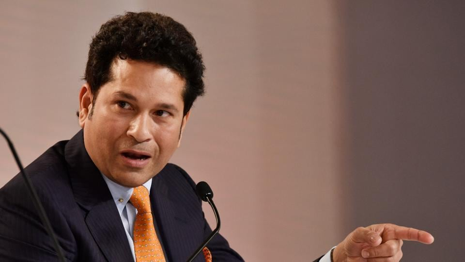 Former Indian cricketer Sachin Tendulkar speaks at the HT Leadership Summit on Day 2 in New Delhi on Saturday. (Vipin Kumar/HT PHoto)
