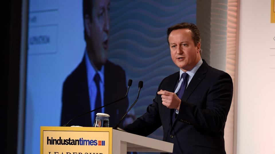 Speaking in the first session on Day 2 of HTLS 2016, former UK PM David Cameron said he agreed with Indian PM Modi on the fact that there's no good or bad terrorism. (Gurinder Osan/HT PHoto)