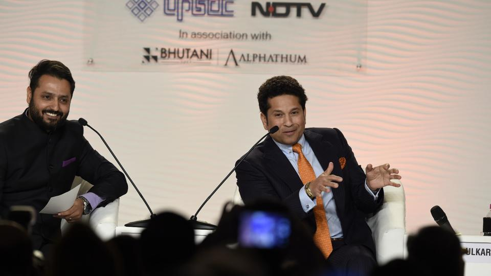 Former Indian cricketer Sachin Tendulkar during a conversation with Nikhil Naz, consultant, NDTV, on Day 2 of HT Leadership Summit in New Delhi on Saturday. (Gurinder Osan/HT PHoto)