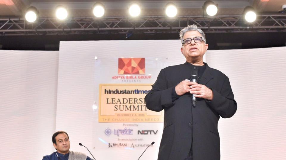 Deepak Chopra, founder of Chopra Foundation and co-founder of Chopra Centre of Well-being in conversation with Vikram Hazra, spiritual jazz musician, on Day 2 of the Hindustan Times Leadership Summit at Taj Palace in New Delhi on Saturday. (Arun Sharma/ HT Photo)