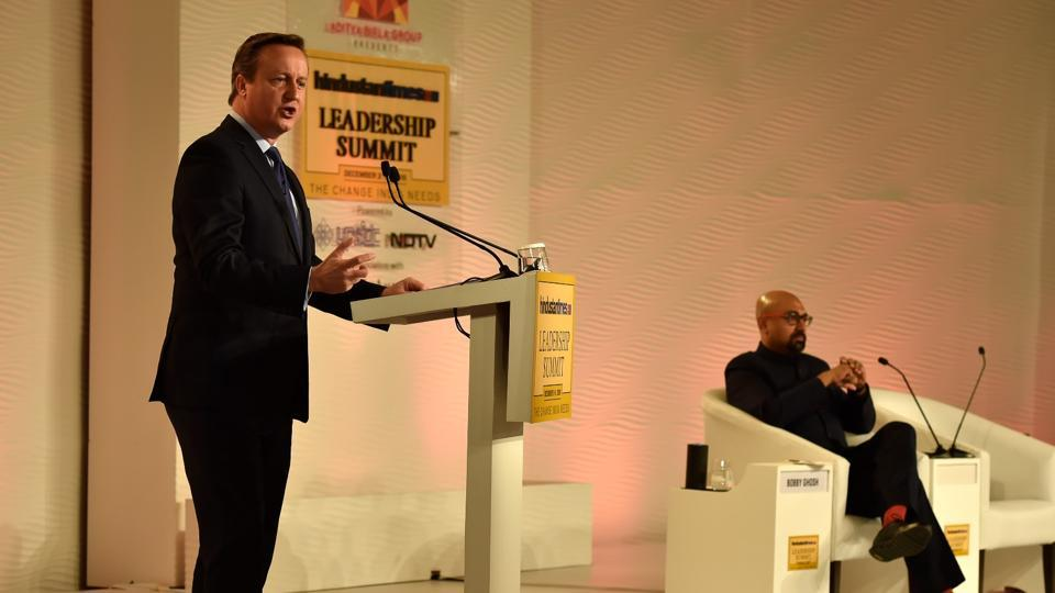 Former British prime minister David Cameron in conversation with Bobby Ghosh, editor-in-chief of Hindustan Times, on Day 2 of the HTLS 2016 in New Delhi on Saturday. (Ajay Aggarwal / HT Photo)