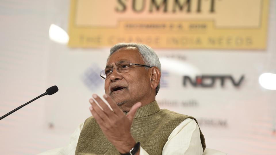 Bihar chief minister Nitish Kumar at the Hindustan Times Leadership Summit, in Delhi.