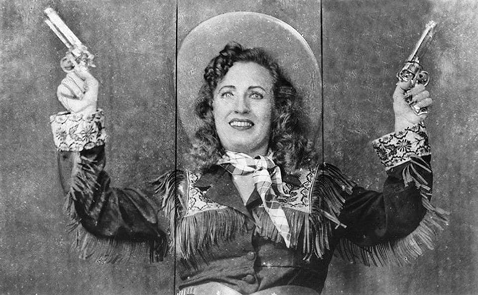 Mary Ann Evans aka Fearless Nadia in a still from Carnival Queen, 1955.