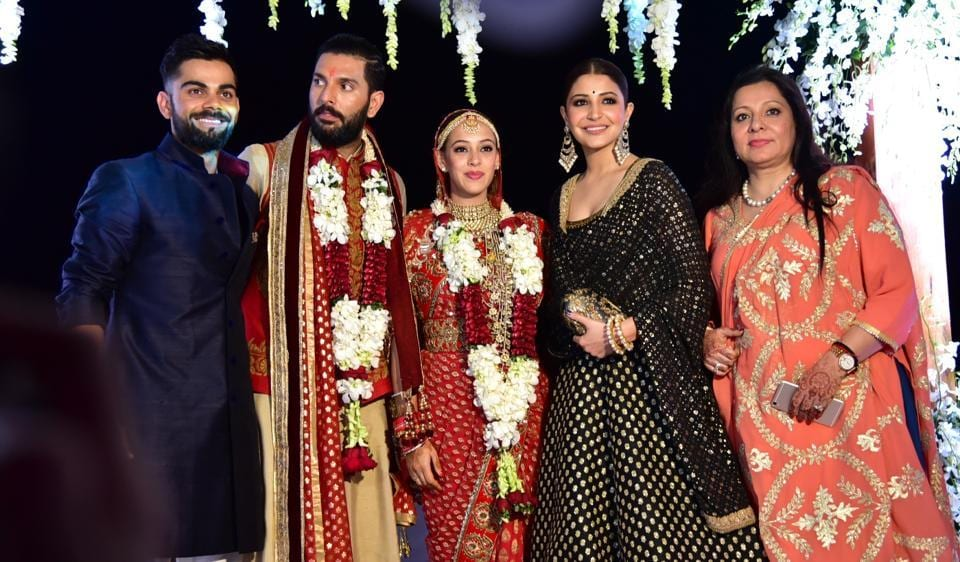 Virat Kohli and Anushka Sharma with Yuvraj Singh and actor Hazel Keech.