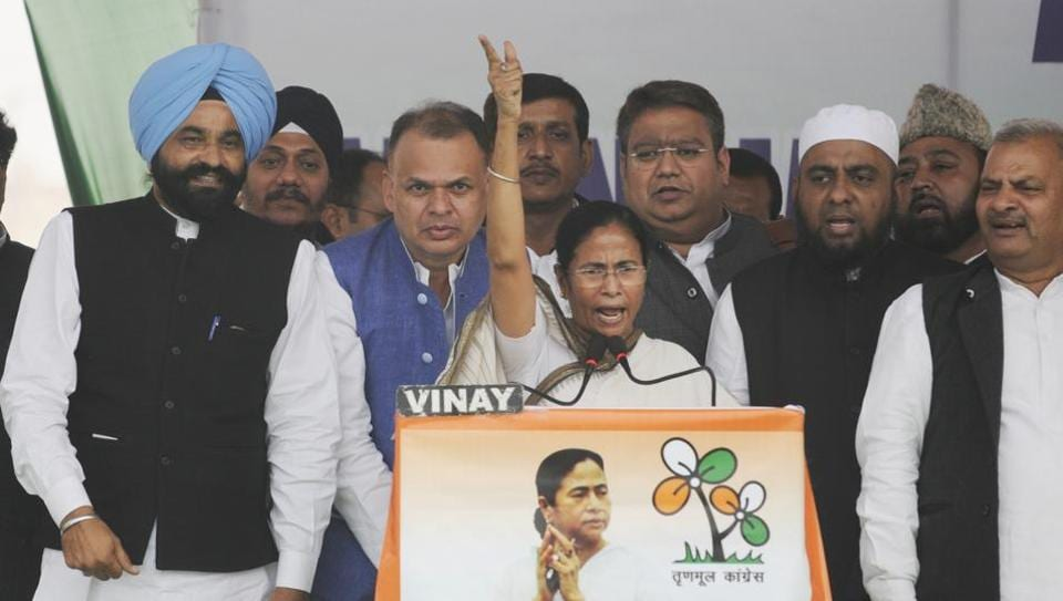West Bengal chief minister Mamata Banerjee addressing a gathering during a protest over demonetisation at 1090 crossing in Lucknow, India on November 29, 2016.